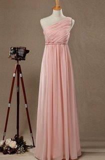 2016 Empire One-shoulder Blush Bridesmaid Dress