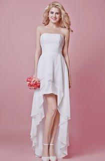 Strapless Pleated Layered Ruffle Chiffon Dress