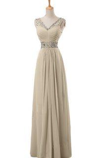 V-neck Long Empire Chiffon Dress With Rhinestones