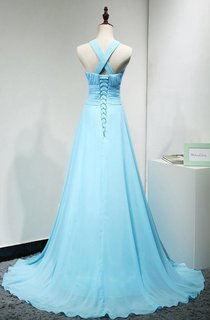 Halter Sleeveless Gown With Cross Back and Ruching