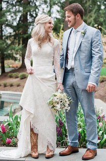 Satin Lace Button Zipper Wedding Dress