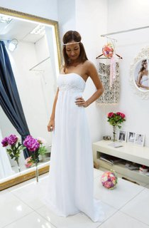 Sheath Empire Strapless Chiffon Dress With Ruching