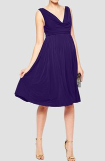 Sleeveless Deep-v Neck A-line Ruched Knee Length Jersey Dress With