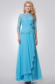 Tea Length Chiffon 3 4 Sleeve Dress With Lace Top