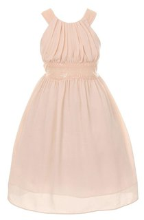 Cap-sleeved A-line Ruched Dress With Sequins