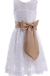 Sleeveless A-line Lace Dress With Bow and Key-hole Back