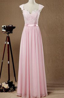 Cap Sleeve Chiffon&Lace&Satin Dress