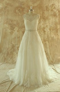A-Line Tulle Lace Weddig Dress With Beading Sash Ribbon