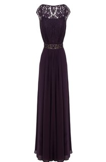 Off-shoulder Long Chiffon Gown With Illusion Lace Bodice
