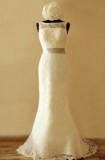 Bateau Sleeveless Low-V Back Sheath Lace Wedding Dress With Sash And Flower