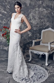 Chic V-neck Lace and Charmeuse Gown With Appliques