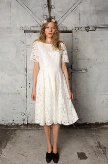 Bateau Neck Short A-Line Wedding Dress With Short Sleeves