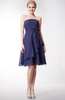 Cute Strapless Side Draped Knee Length Chiffon Dress With Flowers