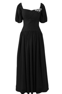 Short-sleeved A-line Chiffon Gown With Pleats