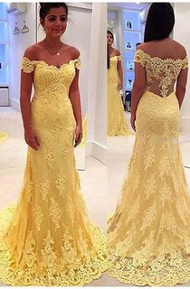Modern Yellow Lace Appliques Evening Dress 2016 Mermaid Off-the-shoulder