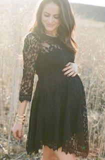 Modern Lace Black Short Maternity Prom Dress 3 4-Length Sleeve