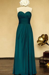 Long Strapless Sweetheart Chiffon and Satin Dress