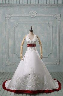 Halter Sleeveless Long Satin Wedding Dress With Sash And Lace-Up Back