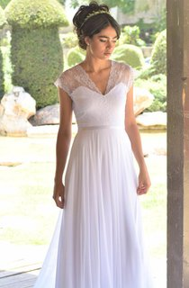 V-Neck Cap-Sleeve Chiffon Pleated Wedding Dress With Deep-V Back
