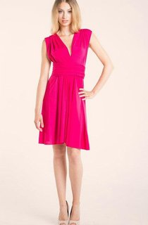 Short Knee-length Jersey&Satin Dress