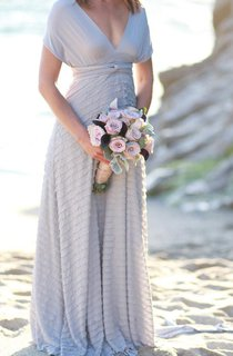 Ruffle Octopus Infinity Wrap Gown Nantucket Grey With Ahoy Grey ~Vintage Wedding Dress