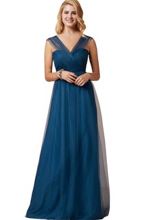 Tulle V-Neck A-Line Floor Length Dress With Straps