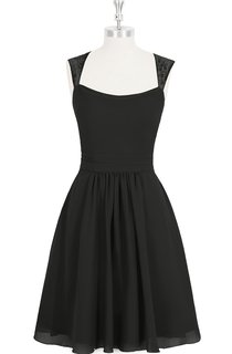 A-Line Chiffon Dress With Lace Top and Pleated Skirt
