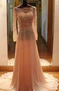 Gorgeous Long Sleeves Beadings Prom Dress 2016 Chiffon Long Party Gown