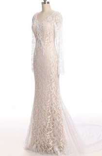 Mermaid Long Sleeve Lace Weddig Dress With Low-V Back