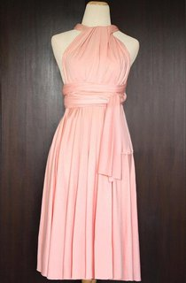 Short Peach Infinity Multiway Bridesmaid Convertible Wrap Dress