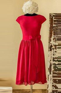 Knee-length Scoop Cap Sleeve Chiffon&Satin Dress With Bow&Tiers&Zipper