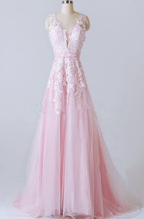 A-line V-neck Tulle And Lace Dress With Appliques And Low V back