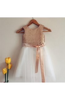 Gold Sequin Sleeveless Ivory Tulle Flower Girl Dress With Sash Bow