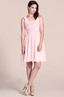 Sleeveless Scoop Short Dress With Pleats
