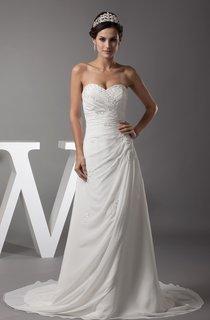 Sweetheart Appliqued Criss-Cross Chiffon Dress with Court Train