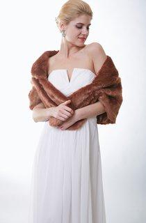 Dramatic Brown Faux Fur Wedding Wrap