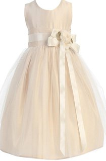 Sleeveless A-line Dress With Floral Bow Tie