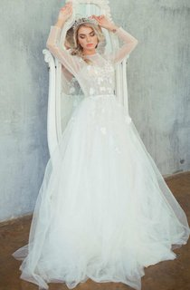 A-Line Tulle Satin Tiers Floral Lace Embroidered Lace-Up Corset Back Wedding Dress
