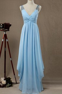 Maxi V-neck Chiffon&Satin Dress