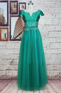 Long Cap Sleeve Tulle&Lace&Satin Dress With Appliques