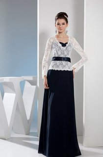 Two-Tone V-Neck Floor-Length Dress with Lace Top