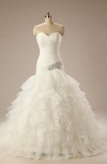 Sweetheart Lace-Up Back Mermaid Chiffon Wedding Dress With Ruffles And Ruching