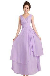 Graceful V-neck Drapped A-line Gown With Lace-up Back
