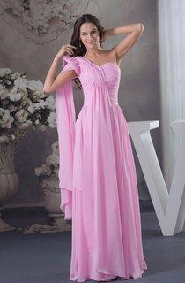Pastel Asymmetrical Chiffon Dress with Ruching and Pleats