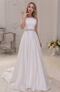 Scoop-Neck Sleeveless Satin A-Line Wedding Dress With Beaded Waist