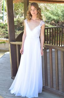 Deep-V-Neck Cap-Sleeve Chiffon Lace Chiffon Floor-Length Wedding Dress