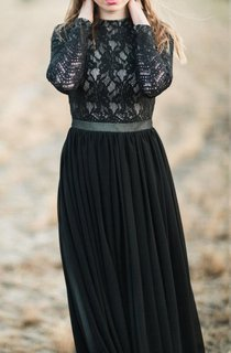 A-line Long Sleeve Chiffon&Lace Dress With Tiers