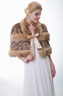 Leopard Faux Fur Bridal Wrap With Satin Bow