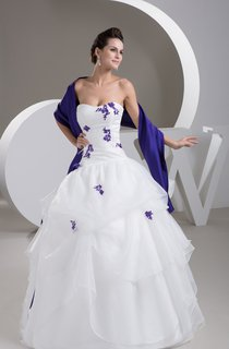 Sweetheart Ruffled Ball Gown with Appliques and Wrap