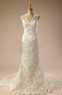V-Neck Sleeveless Sheath Satin Wedding Dress With Appliques And Keyhole Back
